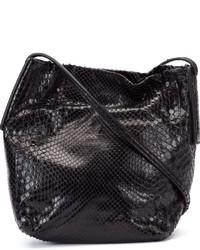 Borsa a tracolla in pelle con stampa serpente nera di Rick Owens