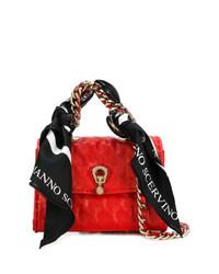 Borsa a tracolla in pelle decorata rossa di Ermanno Scervino