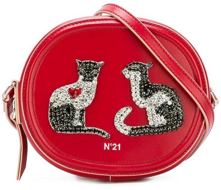 Borsa a tracolla in pelle decorata rossa di No.21