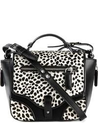 Borsa a tracolla in pelle leopardata bianca e nera