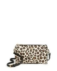 Borsa a tracolla in pelle leopardata marrone chiaro