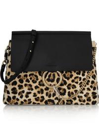 Borsa a tracolla in pelle leopardata nera