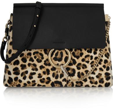 Borsa a tracolla in pelle leopardata nera di Chloé