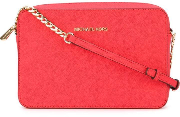 ... Borsa a tracolla in pelle rossa di MICHAEL Michael Kors 57eb64f98ad