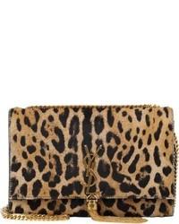 Borsa a tracolla in pelle scamosciata leopardata marrone