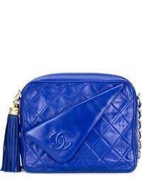 Borsa a tracolla in pelle trapuntata blu di Chanel