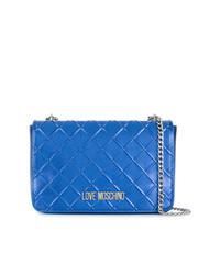 Borsa a tracolla in pelle trapuntata blu di Love Moschino