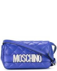 Borsa a tracolla in pelle trapuntata blu di Moschino