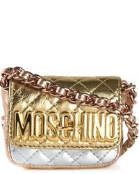 Borsa a tracolla in pelle trapuntata dorata di Moschino