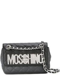 Borsa a tracolla in pelle trapuntata grigio scuro di Moschino