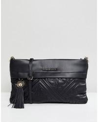 Borsa a tracolla in pelle trapuntata nera di Versace Jeans