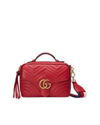 Borsa a tracolla in pelle trapuntata rossa di Gucci