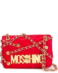Borsa a tracolla in pelle trapuntata rossa di Moschino