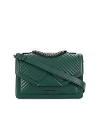 Borsa a tracolla in pelle trapuntata verde scuro di Karl Lagerfeld