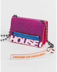 Borsa a tracolla in pelle viola melanzana di House of Holland