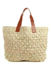 Borsa shopping all'uncinetto beige