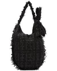 Borsa shopping di lana nera