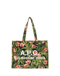 Borsa shopping di tela a fiori verde oliva di A.P.C.