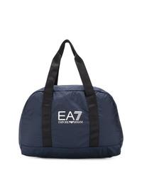 Borsa shopping di tela blu scuro di Ea7 Emporio Armani