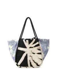 Borsa shopping di tela effetto tie-dye nera e bianca di Proenza Schouler