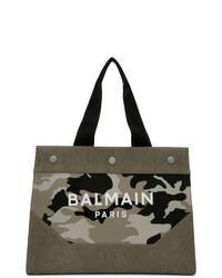 Borsa shopping di tela mimetica verde oliva di Balmain