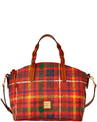 Borsa shopping di tela scozzese rossa