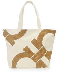Borsa shopping di tela stampata beige