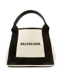Borsa shopping di tela stampata bianca e nera di Balenciaga