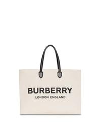 Borsa shopping di tela stampata bianca e nera di Burberry