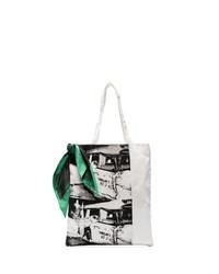 Borsa shopping di tela stampata bianca e nera di Calvin Klein 205W39nyc
