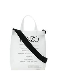 Borsa shopping di tela stampata bianca e nera di Kenzo