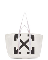 Borsa shopping di tela stampata bianca e nera di Off-White