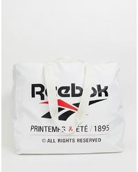 Borsa shopping di tela stampata bianca e nera di Reebok