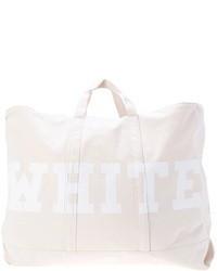 Borsa shopping di tela stampata bianca