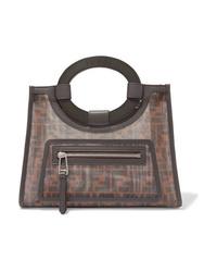 Borsa shopping di tela stampata marrone scuro di Fendi