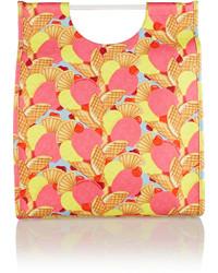 Borsa shopping di tela stampata rosa