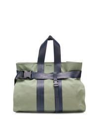 Borsa shopping di tela verde oliva di Sunnei