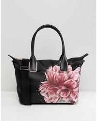 Borsa shopping in pelle a fiori nera di Ted Baker