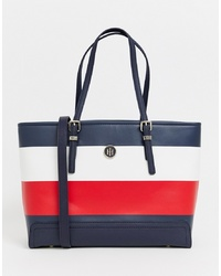 Borsa shopping in pelle a righe orizzontali blu scuro