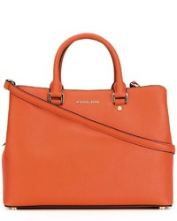 Borsa shopping in pelle arancione di Michael Kors