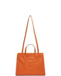 Borsa shopping in pelle arancione di Telfar