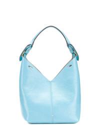 Borsa shopping in pelle azzurra di Anya Hindmarch