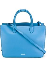 Borsa shopping in pelle azzurra di Jil Sander