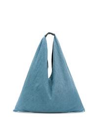 Borsa shopping in pelle azzurra di MM6 MAISON MARGIELA