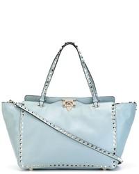 Borsa shopping in pelle azzurra di Valentino