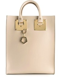 Borsa shopping in pelle beige