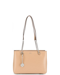Borsa shopping in pelle beige di DKNY