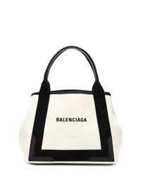 Borsa shopping in pelle bianca e nera di Balenciaga