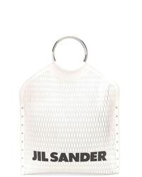 Borsa shopping in pelle bianca e nera di Jil Sander