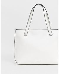 Borsa shopping in pelle bianca di Fiorelli